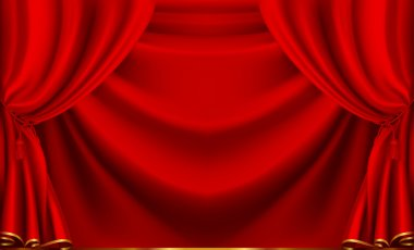Red theater curtain, vector