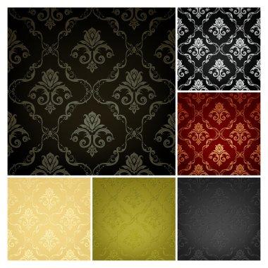 Seamless Wallpaper Pattern, set of six colors