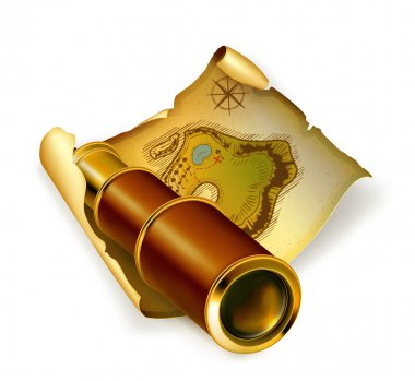 Old map and spyglass, 10eps