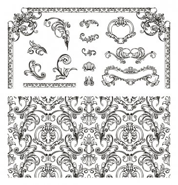 Seamless pattern and design elements, vector