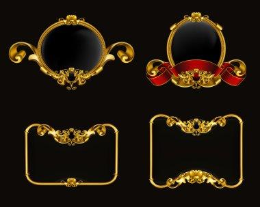 Vintage emblem set on black, 10eps