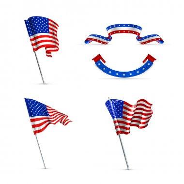 American flags, set