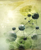 Background with molecules green, old-style vector