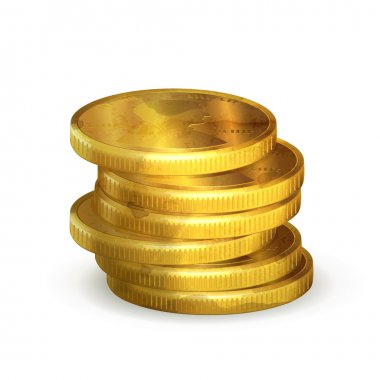 Stacks of gold coins, old-style vector isolated
