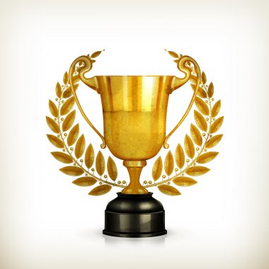 Golden trophy, old-style vector isolated