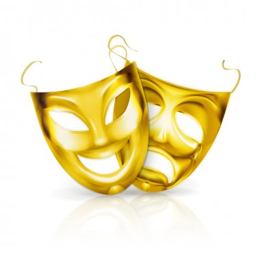 Gold theater masks, vector
