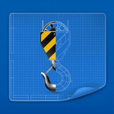 Lifting hook drawing blueprint, vector