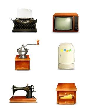 Retro icon set, vector