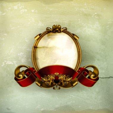 Vintage frame white, old-style