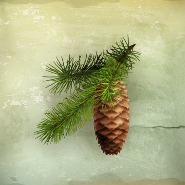 Pine cone with branch, old-style