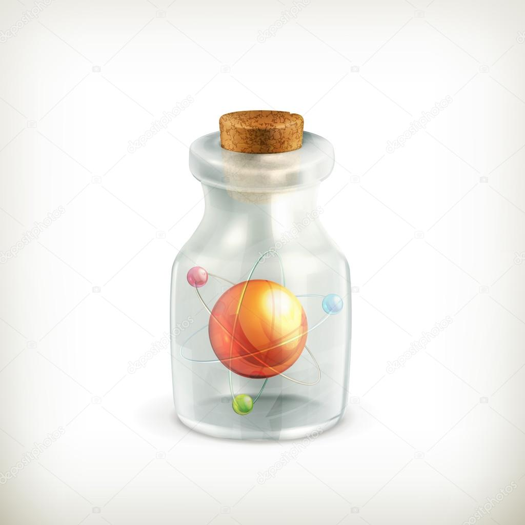 Atom in a bottle, icon