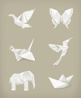 Origami vector set, white