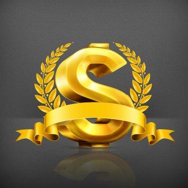 Dollar sign, vector emblem