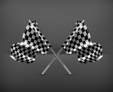Two crossed checkered flags, vector