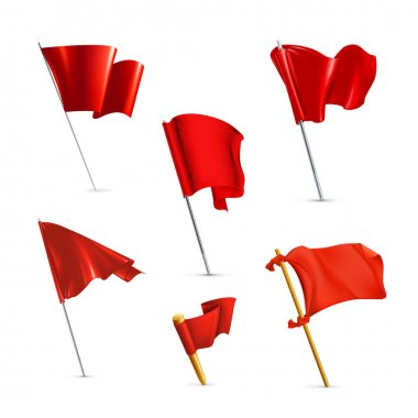 Red flags, vector icon set stock vector