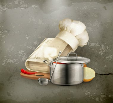 Cooking icon, old style vector
