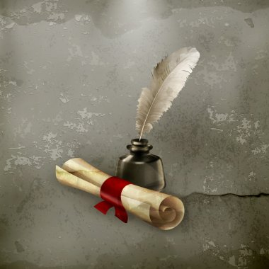Ancient scroll and feather, old style vector