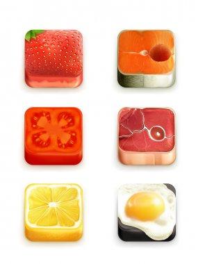 Food app icons vector set