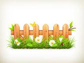 erba di primavera e il vettore di recinzione in legno