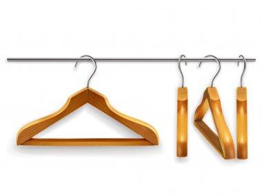 Wooden clothes hangers, vector