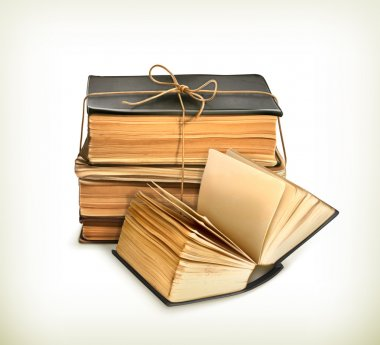 Stack of old books, vector