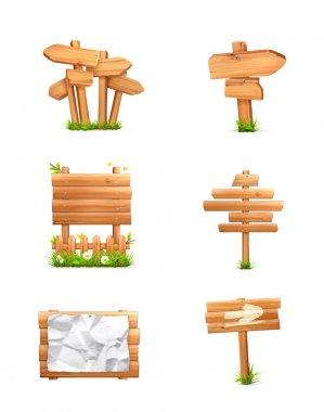 Wooden signs set, vector