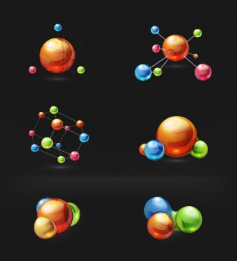 Molecule icon vector set on black