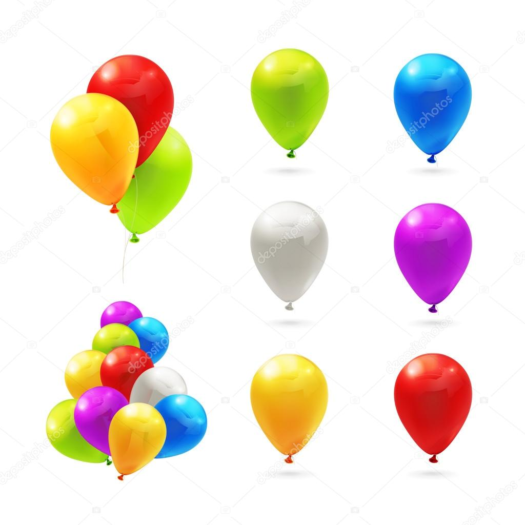 Toy balloons, set of vector icons
