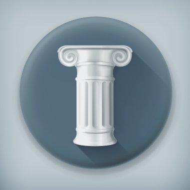 Column, long shadow vector icon