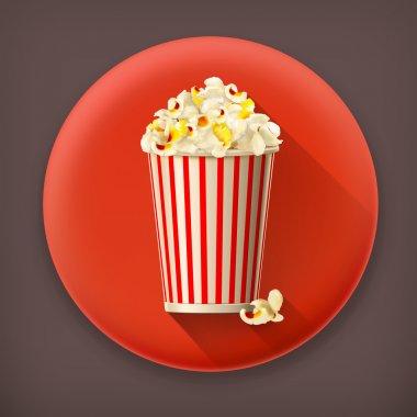 Popcorn long shadow vector icon