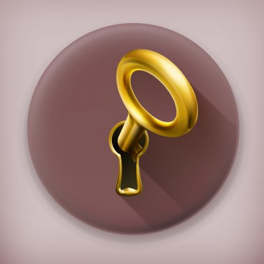 Golden key, long shadow vector icon