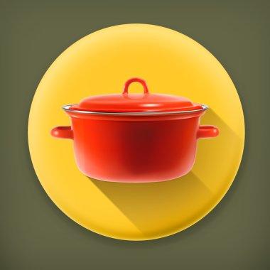 Red saucepan, long shadow vector icon