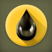 Fotografia goccia di olio nero, icona di vettore lunga ombra