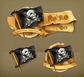 Photo Jolly Roger, retro vector icon
