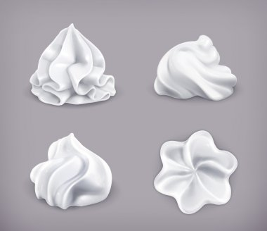 Whipped cream, vector icon set