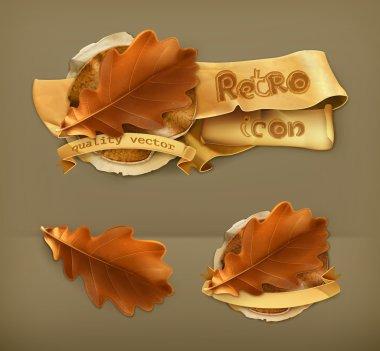 Oak leaf, retro vector icon