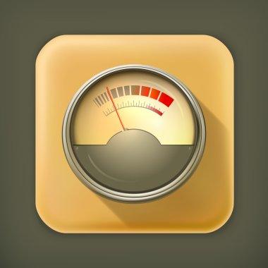 Audio Gauge, long shadow vector icon