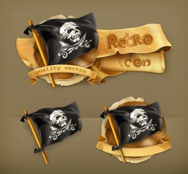 Jolly Roger, retro vector icon