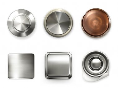 Detailed metal buttons, set