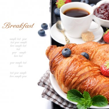 Breakfast with coffee and fresh croissants over white stock vector