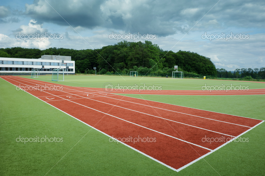 Run track in sport stadium