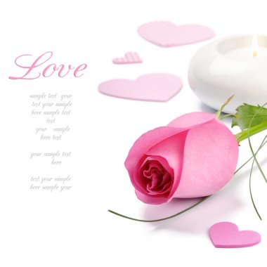 Pink rose and candle.Valentine's set