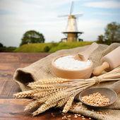 Fotografie Organic ingredients for bread preparation