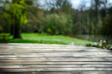 Empty wooden table in green spring garden stock vector