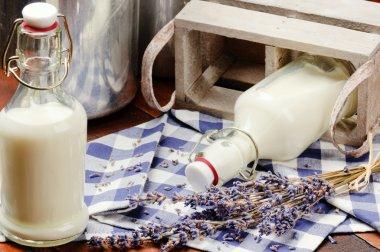 Bottles with fresh milk