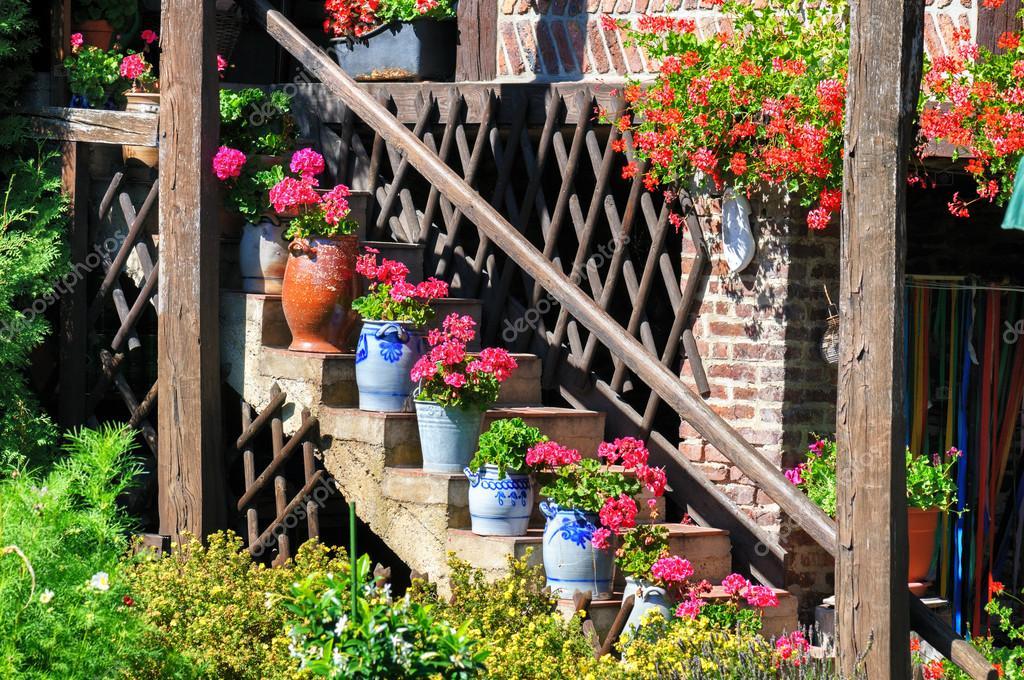 Staircase with flowers in pots Stock Photo paulgrecaud 39228131