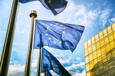"Картина, постер, плакат, фотообои ""флаги ес перед еврокомиссией "", артикул 46192167"