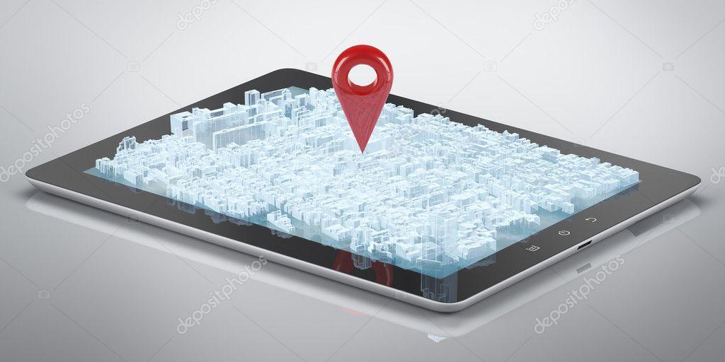 Tablet computer city hologram GP