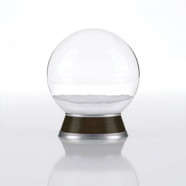 An empty snow globe that can be customized