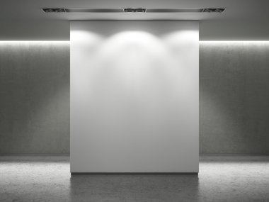 Gallery interior with empty white wall